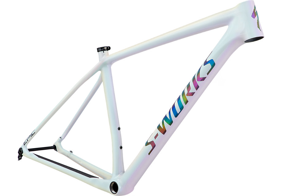 Specialized S-Works Epic Hardtail Frameset - Gloss White Prismaflair/Black Holographic Reflective - M - 2020